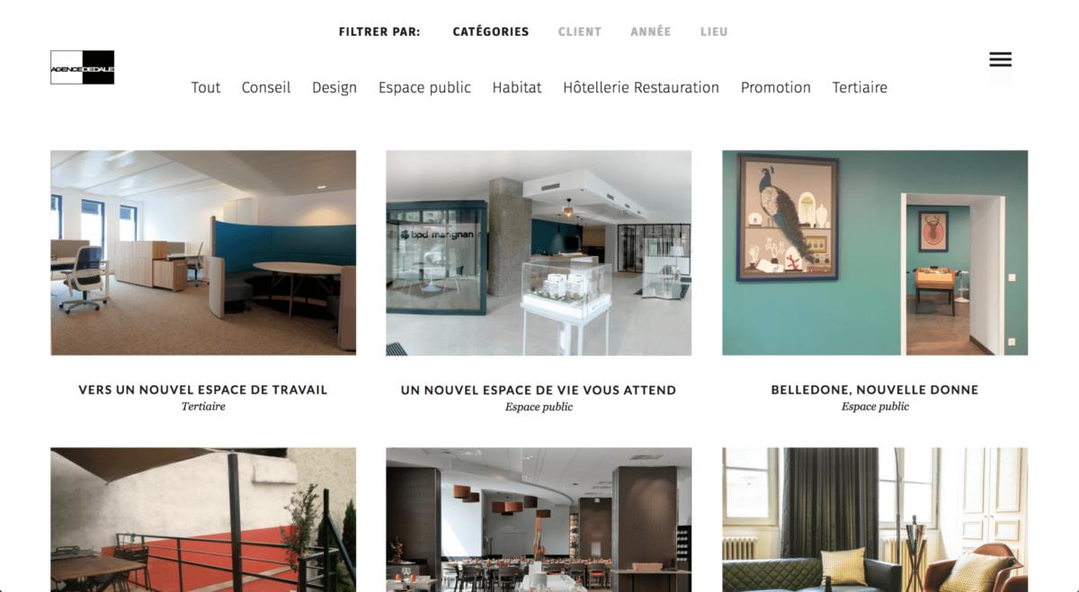 Capture d'écran site web agence Dédale 1